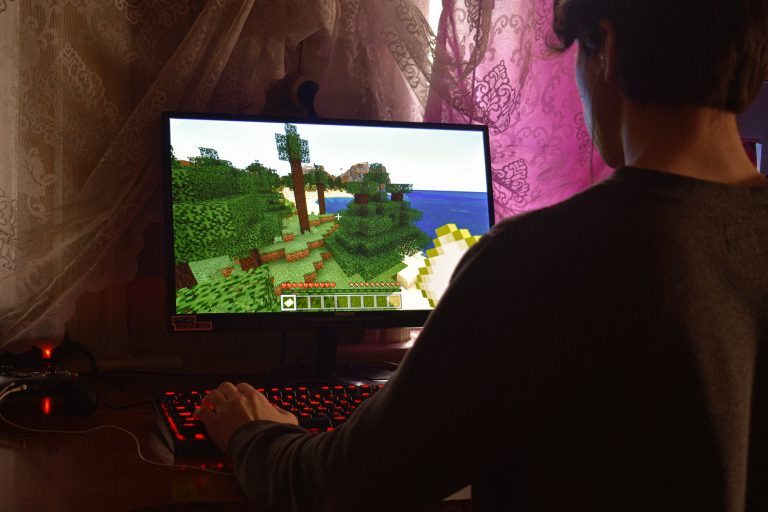 playing minecraft on computer
